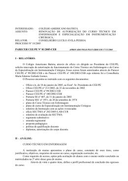 parecer cee/pe nº 81/2005-ceb - Conselho Estadual de Educação