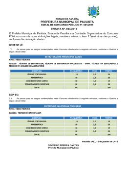 ERRATA Nº. 003-2014 - CONCURSO DE PAULISTA