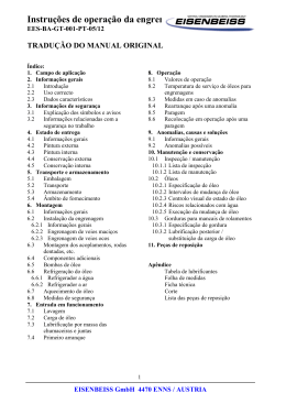 Instruções de operação da engrenagem