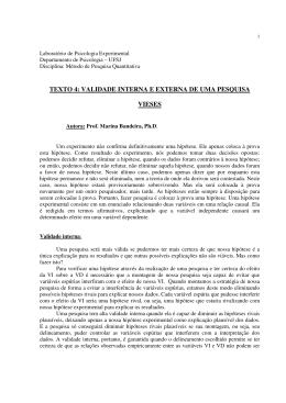 Texto 4: Validade interna e externa de uma pesquisa