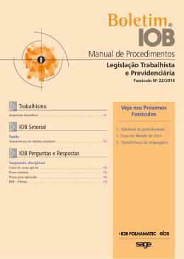 IOB - Legislação Trabalhista - nº 22/2014