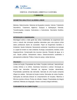 EMENTAS - ENGENHARIA AMBIENTAL E SANITÁRIA 1º