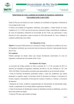 Edital Eleição do Centro Acadêmico da Faculdade de Engenharia