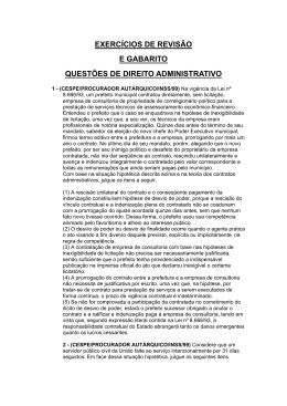 exercícios de revisão e gabarito questões de direito administrativo