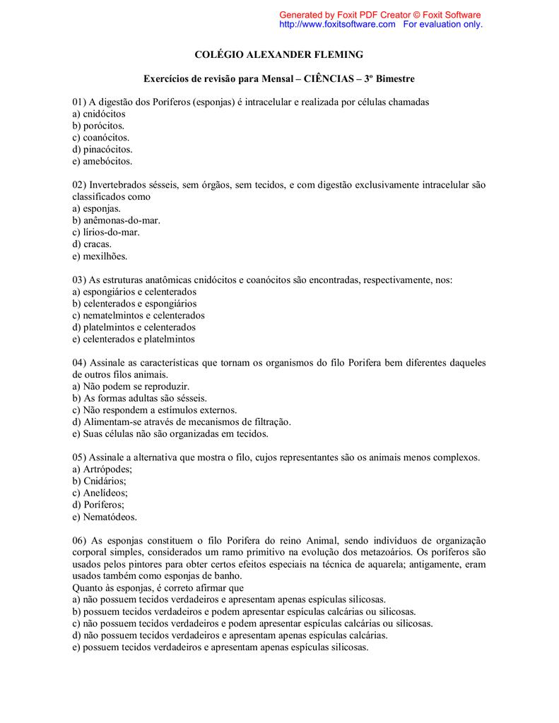 COLÉGIO ALEXANDER FLEMING Exercícios de revisão para Mensal d7b9e39c6b
