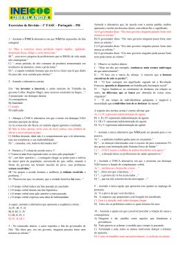 Exercícios de Revisão – 1ª FASE – Português – PH