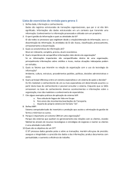 Lista de exercícios de revisão para prova 1