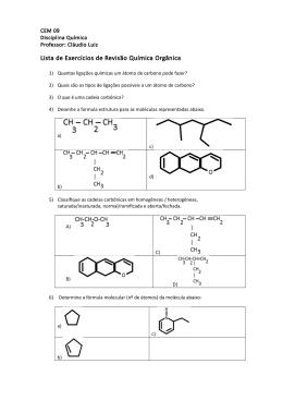 Lista de Exercícios de Revisão Química Orgânica