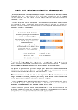 Pesquisa avalia conhecimento de brasileiros sobre energia solar