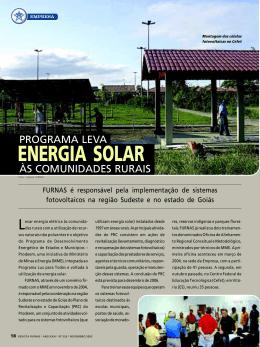 Programa leva energia solar ás comunidades rurais