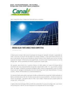 Canal – Jornal da Bioenergia – 02/12/2014 Energia solar: fonte