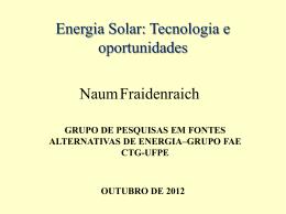 Energia Solar: Tecnologia e Oportunidades