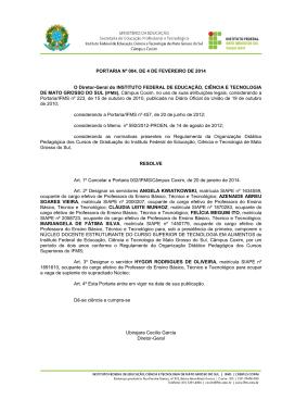 PORTARIA Nº 004, DE 4 DE FEVEREIRO DE 2014 O Diretor