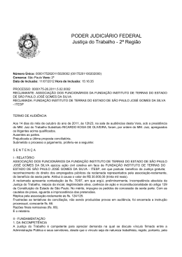 PODER JUDICIÁRIO FEDERAL Justiça do Trabalho - 2ª