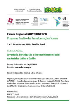 Escola Regional MOST/UNESCO Programa Gestão das