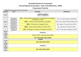 Sociedade Brasileira de Computação I Escola Regional