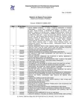 Relatório de Objetos Protocolados
