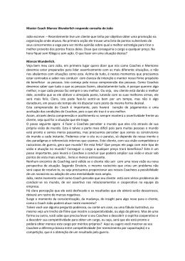 Master Coach Marcos Wunderlich responde consulta do João João
