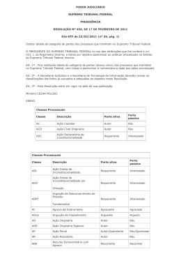 PODER JUDICIÁRIO SUPREMO TRIBUNAL FEDERAL