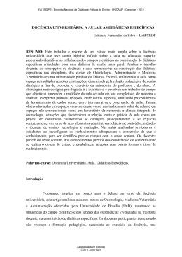 DOCÊNCIA UNIVERSITÁRIA: A AULA E AS DIDÁTICAS