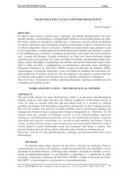 trabalho e educação: o método ergológico tradução profa