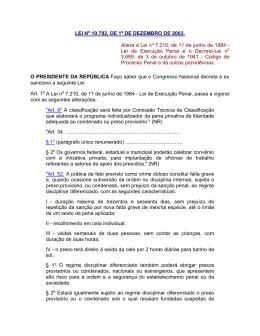 LEI No 10.792, DE 1º DE DEZEMBRO DE 2003. Altera a Lei no