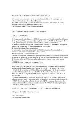 MANUAL DO PROGRAMA DE CRÉDITO EDUCATIVO Este manual