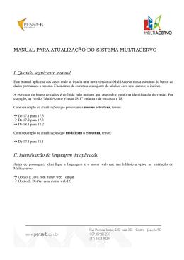 MANUAL PARA ATUALIZAÇÃO DO SISTEMA MULTIACERVO I