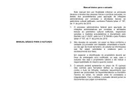 MANUAL BÁSICO PARA O AUTUADO Manual básico para o