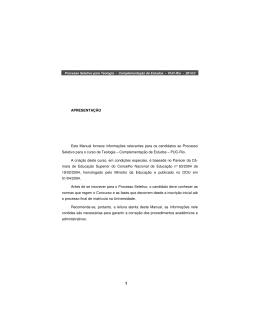 APRESENTAÇÃO Este Manual fornece informações - PUC-Rio
