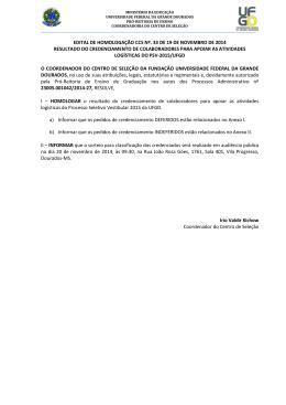 Edital de Homologação CCS 33/2014 - Centro de Seleção