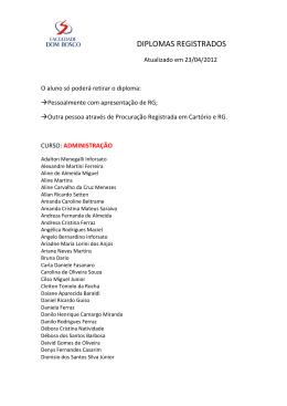 diplomas registrados - Faculdade Salesiana Dom Bosco Piracicaba