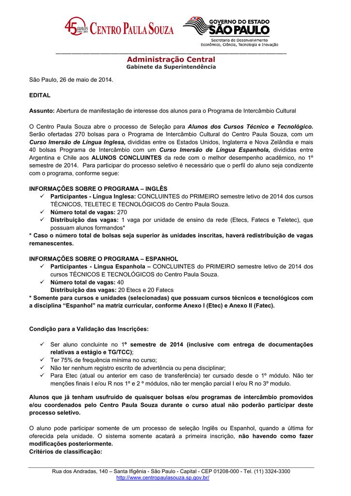 Administração Central - Manifestação de Interesse do Programa de