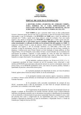 EDITAL DE LEILÃO E INTIMAÇÃO