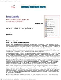 Estudos Avançados - Carta de Paulo Freire aos professores