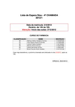 Lista de Espera Sisu - 4ª CHAMADA 2012/1 Data da - Unifal-MG