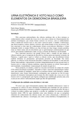 urna eletrônica e voto nulo como elementos da - HCTE