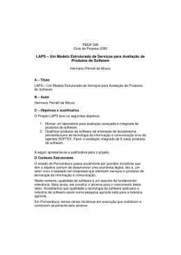 LAPS – Um Modelo Estruturado de Serviços para Avaliação de