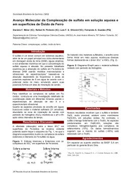 Avanço Molecular da Complexação de sulfato em solução aquosa e