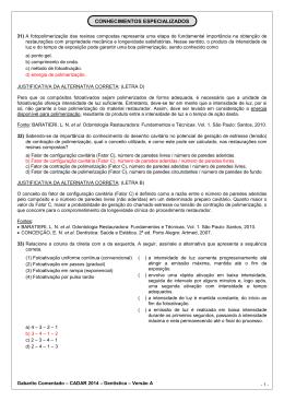 GABARITO COMENTADO - DENTÍSTICA - VERSÃO A