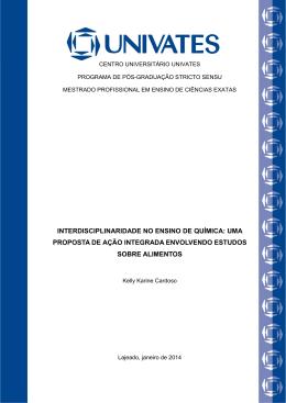 interdisciplinaridade no ensino de química: uma proposta