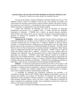 Aumenta número de inscrições do Prêmio Qualidade na Educação