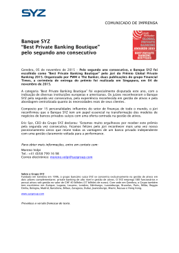 "Banque SYZ ""Best Private Banking Boutique"" pelo segundo ano"