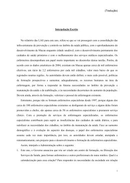 Interpelação Escrita No relatório das LAG para este ano, refere