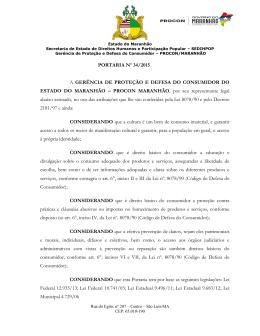 PORTARIA Nº 34/2015 A GERÊNCIA DE PROTEÇÃO E