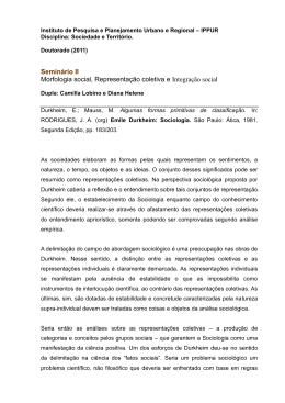 Seminário II Morfologia social, Representação coletiva e Integração