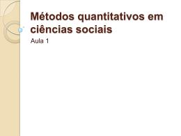Métodos quantitativos em ciências sociais