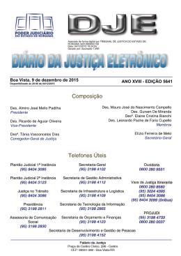 Comarca de Boa Vista - Diário da Justiça Eletrônico