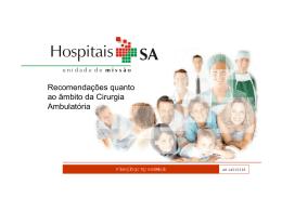 HOSPITAIS SA Recomendações quanto ao Âmbito da cirurgia