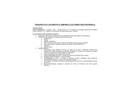 terapêutica antibiótica empírica da febre neutropénica